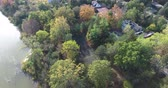 konut : Luxury Homes Aerial With Tennis Court In Forest By River Water