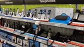 butik : 4K Rows Of Telephones Answering Machines in Electronics Store Wideo