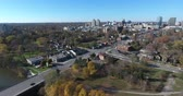 Downtown City Traffic Leaving City Crossing Bridge Drone Aerial Shot View