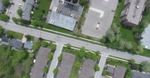 rooftop : Flying Straight Over Top Of Apartment Buildings Structures Drone Aerial View