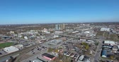 Left To Right Aerial Panorama Of Downtown Core To Bridge 4K