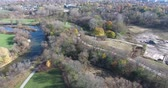 riverside : Nature Pathway Aerial View Following By River