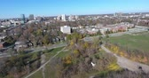 realtor : Panoramic View Of City To Riverbed Drone Aerial Footage Shot