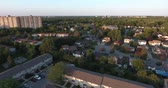 Aerial of Apartment Building and Townhouses Drone Shot