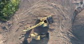 front end loader : Construction Machinery Excavator and Front End Loader Drone Aerial Stock Footage