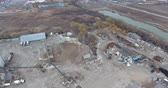 front end loader : Aerial Panorama Of Construction Company With Materials 4K