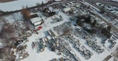 país das maravilhas : Descending Towards Trucking Shipping Yard In Winter Aerial View Stock Footage