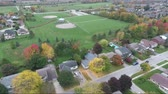 mowed : Flying Over Residential Neighborhood Towards Soccer Fields Aerial View