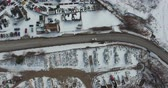 harikalar diyarı : Flying Over Trucking Shipping Area With Lots Of Boxes In Winter Time Aerial 002 Stok Video