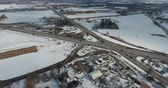 país das maravilhas : Traffic In Winter Time Near Industrial District Drone Aerial View