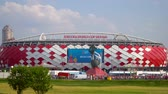 23 June 2018. Russia. Moscow. View of the stadium Spartak after the match Belgium - Tunisia. Fans come out of the stadium and move to the metro Spartak Stock Footage
