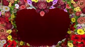Animation of swirling flowers forming the silhouette of a heart on a red festive background. Template for greetings for wedding, Valentines Day, mothers day, family day, birthday. Loop video.