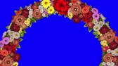 Animation of a rotating ring of flowers on a blue background. Chroma key. Loop video
