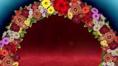 Animation of a swirling ring of flowers on a light blue and red background. Loop video Stock Footage