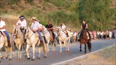 koňmo : Alora, Spain - August 26, 2018: Group of local horsemen forming advanced honor guard for the annual procession in honor of Flores, patron saint of Alora, Andalusia