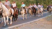 konie : Alora, Spain - August 26, 2018: Group of local horsemen forming advanced honor guard for the annual procession in honor of Flores, patron saint of Alora, Andalusia