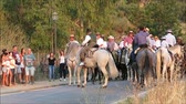 felvonulás : Alora, Spain - August 26, 2018: Group of local horsemen forming advanced honor guard for the annual procession in honor of Flores, patron saint of Alora, Andalusia