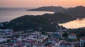 декорации : View from the birds eye of the Kas city, district of Antalya Province of Turkey, Asia. Sunset in small Mediterranean yachting and tourist town. Full HD video (High Definition). Exported from RAW file Стоковые видеозаписи