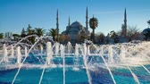 Colorful spring scene in Sultan Ahmet park in Istanbul, Turkey, Europe. Fountain on the background of the Loonic Blue Mosque. Full HD video (High Definition). Exported from RAW file.