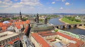 View from Church of Our Lady (Frauenkirche) of the Elbe river and Dresden town. Sunny spring scene in Saxony, Germany, Europe. Full HD video (High Definition).