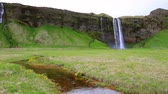 Morning view of Seljalandfoss Waterfall in summer. Iceland, Europe. Full HD video (High Definition).