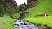 severní : Typical Icelandic landscape with majestic canyon and pure water river. Iceland, Europe. Full HD video (High Definition).