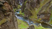 Majestic view of Fjadrargljufur canyon and river. South east Iceland, Europe. Full HD video (High Definition).