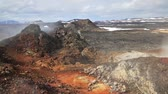 Lava field landscape in geothermal valley Leirhnjukur, located near Lake Myvatn in north of Iceland, Europe. Full HD video (High Definition). Stock Footage