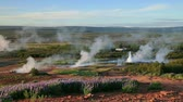 Erupting of the Great Geysir lies in Haukadalur valley on the slopes of Laugarfjall hill. Southwestern Iceland, Europe. Full HD video (High Definition). Stock Footage