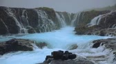 White nights view of unique waterfall - Bruarfoss, Iceland, Europe. Full HD video (High Definition).
