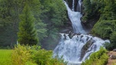 fundo verde : Beautiful waterfall shrouded fresh leaves near the Swiss village of Brunig. Alps, Switzerland, Europe. Vídeos