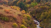 serenidade : Colorful autumn morning in the Caucasus mountains on the Mulkhra river. Ushguli location, Upper Svaneti, Georgia, Europe. HD video (High Definition). Exported from RAW file.