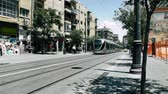 new jerusalem : Jerusalem Israel June 20, 2018 View of the tramway of Jerusalem and unknown people walking in Jaffa street in the morning