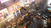 new york : NEW YORK CITY - JUNE, 2013: Times Square aerial view at night. The site is regarded as the worlds most visited tourist attraction with nearly 40 million visitors annually Stock Footage