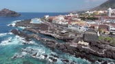 oceano atlântico : Garachico pools, aerial view of Tenerife coastline, Canary Islands