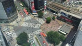 Япония : TOKYO? MAY 23, 2016: Overhead view of Shibuya Crossing. It is one of the worlds most used pedestrian scrambles, accelerated clip Стоковые видеозаписи