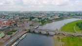 article : Dresden, Germany. Aerial view of ancient buildings along city river Stock Footage