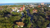Flying down over Saint Augustine skyline, Florida