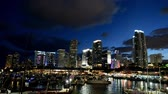 Miami lights at night. View of Downtown Stock Footage