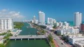 viagens de negócios : MIAMI, FL - FEBRUARY 2016: Aerial view of Miami Beach buildings along the river. Miami attracts 15 million tourists annually