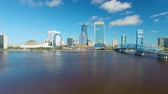 major city : JACKSONVILLE, FL - FEBRUARY 2016: Aerial view of city skyline. Jacksonville is a major attraction in Florida Stock Footage