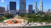 paŹdziernik : MIAMI, FL - FEBRUARY 2016: Aerial view of Downtown Miami buildings and fountain square on a sunny day. Miami attracts 15 million tourists annually