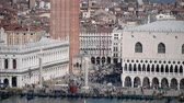 işaret : St Mark Square aerial view in Venice Stok Video