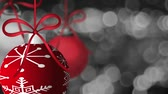 ano : Hanging Red Holiday Ornaments Spinning on Silver Twinkling Sparkly Out of Focus Bokeh Background 1920x1080 Vídeos