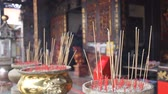 thai : Burning Incense Joss Sticks for Blessings in Buddhist Temple 1920x1080