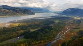 4k : Ultra High Definition 4k Time Lapse Movie of Thick Moving White Clouds over Columbia River Gorge and Highway 84 Freeway Traffic in Early Fall Season Portland Oregon 4096x2304