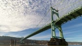 Ultra high definition 4k time lapse movie of moving white clouds and blue sky over St. Johns bridge across Willamette River in Portland Oregon 4096x2304 uhd Dostupné videozáznamy