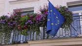 European flag on a balcony