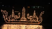 praya : Grand Palace with the light boat During Loy kratong Festival of light, Ubonratchathani Province Thailand Stock Footage