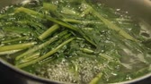 előkészített : boiling dandelion flower greens real time video Stock mozgókép